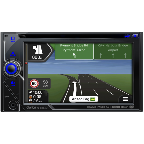 "Clarion NX606AU 2-DIN Multimedia Station with Built-in Bluetooth, Navigation & 6"" Touch Panel Control"