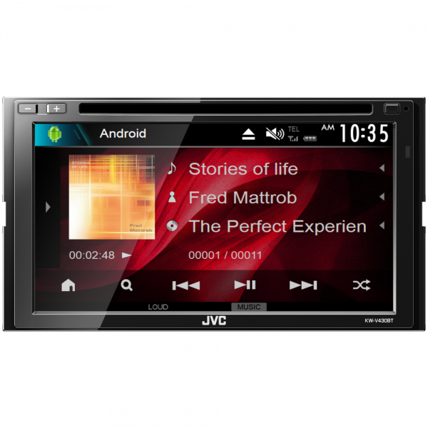 """JVC KW-V430BT DVD/CD/USB Receiver with 6.8-inch Clear Resistive Touch Control Monitor (6.8"""" WVGA) and Built-In Bluetooth(R) Wireless Technology"""